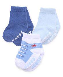 Luvable Friends Stylish Pair Of 3 Socks - Blue & Grey