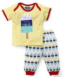 Mini Taurus Half Sleeves T-Shirt And Bottoms Lolly Print - Yellow White