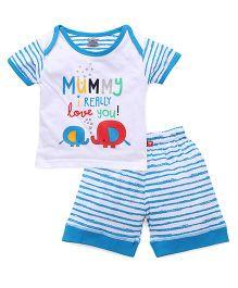 Mini Taurus Half Sleeves T-Shirt And Shorts Set - Blue