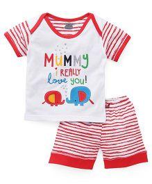 Mini Taurus Half Sleeves T-Shirt And Shorts Set - Cherry Red