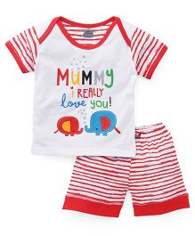 Mini Taurus Half Sleeves T-Shirt And Shorts Set - Cherry Red