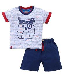 Mini Taurus Half Sleeves T-Shirt And Shorts Set - Navy Blue