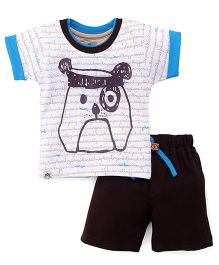 Mini Taurus Half Sleeves T-Shirt And Shorts Puppy Print - White Brown