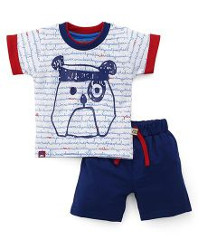 Mini Taurus Half Sleeves T-Shirt And Shorts Puppy Print - White Navy Blue