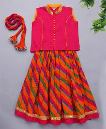 Exclusive from Jaipur Sleeveless Choli Lehenga & Dupatta - Dark Pink