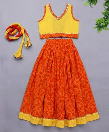 Exclusive from Jaipur Sleeveless Choli Lehenga & Dupatta - Yellow Orange
