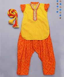 Exclusive from Jaipur Kurta Salwar Dupatta Set - Yellow Orange