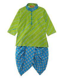 Exclusive from Jaipur Full Sleeves Kurta Dhoti Set - Green Blue
