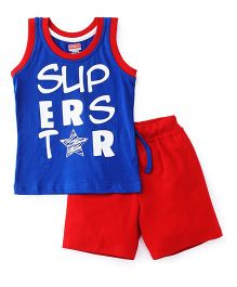 Babyhug Sleeveless T-Shirt And Shorts Set Superstar Print - Red Blue