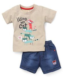 Olio Kids Half Sleeves I Love Cat Printed T-Shirt And Denim Shorts Set - Beige Blue