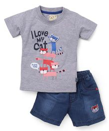 Olio Kids Half Sleeves I Love Cat Printed T-Shirt And Denim Shorts Set - Grey Blue
