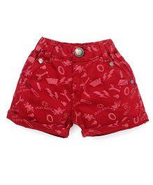 Olio Kids Printed Shorts Turn Up Hem - Red