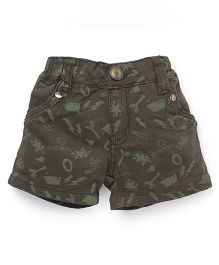 Olio Kids Printed Shorts Turn Up Hem - Dark Olive Green