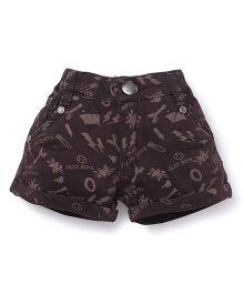 Olio Kids Printed Shorts Turn Up Hem - Brown