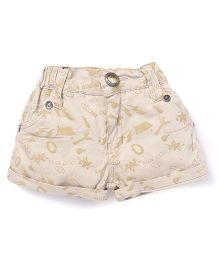 Olio Kids Printed Shorts Turn Up Hem - Cream