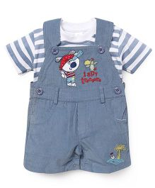 Olio Kids Dungarees With Striped T-Shirt - Blue