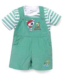Olio Kids Dungarees With Striped T-Shirt - Green