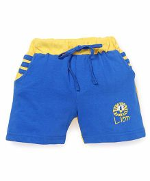 Olio Kids Solid Color Shorts With Lion Print - Grey