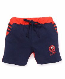 Olio Kids Solid Color Shorts With Lion Print - Navy