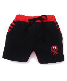Olio Kids Solid Color Shorts With Lion Print - Black