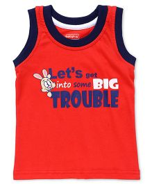 Babyhug Sleeveless T-Shirt Text Print - Red