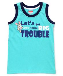 Babyhug Sleeveless T-Shirt Text Print - Sea Green