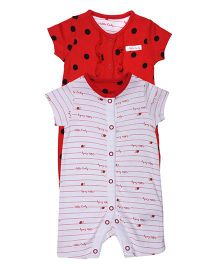 Mothercare Short Sleeves Rompers Pack of 2 - Red White