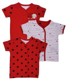Mothercare Short Sleeves Vests Pack of 3 - White Red