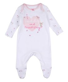 Mothercare Full Sleeves Footed Sleepsuit Printed - White