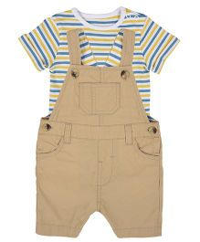 Mothercare Dungaree With Half Sleeves Stripes Tee - Beige Multicolor