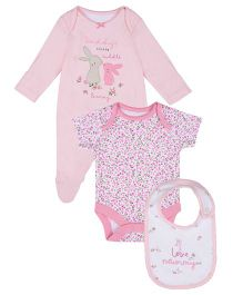 Mothercare Sleepsuit Onesie And Bib Nightwear Combo Set - Pink White