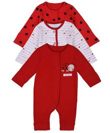 Mothercare Full Sleeves Sleepsuit Printed Pack of 3 - Red White