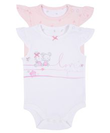 Mothercare Flutter Sleeves Onesie Printed Set Of 2 - Pink White