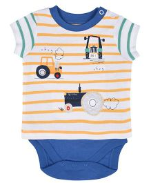 Mothercare Half Sleeves T-Shirt Style Onesie Printed - White Blue