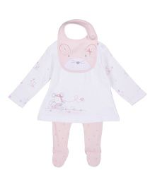 Mothercare Full Sleeves Frock With Footed Leggings And Bib Set - White