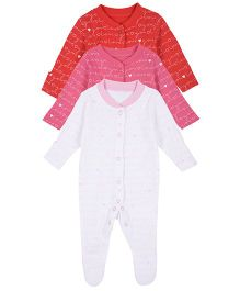 Mothercare Full Sleeves Sleepsuit Pack Of 3 - Red White Pink