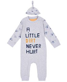 Mothercare Long SleevesSleepsuit With Cap - Grey