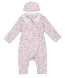 Mothercare Long Sleeves Floral Sleepsuit With Cap - Pink & White