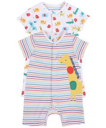 Mothercare Half Sleeves Romper Printed Pack Of 2 - White