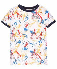 Mothercare Half Sleeves Printed T-Shirt - White Yellow Blue