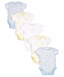 Mothercare Short Sleeves Onesies Multi Print Pack Of 5 - Blue Yellow White
