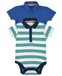 Mothercare Pique Polo Onesies Pack Of 2 - Blue & Green