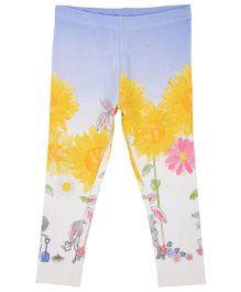 Mothercare Leggings Floral Print - Blue White Yellow