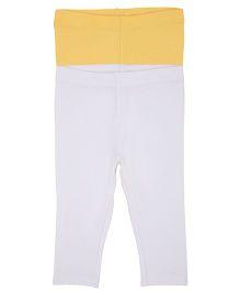 Mothercare Plain Leggings Set of 2 - White Yellow