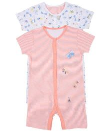 Mothercare Half Sleeves Striped And Printed Romper Set Of 2 - White & Peach