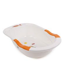 LuvLap Anti-Slip Baby Bathtub - Orange White