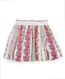 Pinehill Floral Print Skirt - White Pink