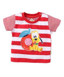 Bodycare Half Sleeves Stripe T-Shirt Pluto Print - Red White