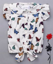 Soul Fairy Trendy Girls Butterfly Print Crepe Top With Tie Up At Waist - White