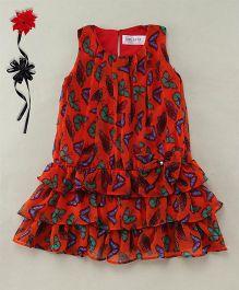 Soul Fairy Trendy Girls Butterfly Print Georgette Dress - Red